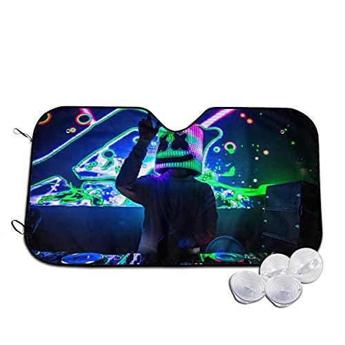 Parasol para Coche,DJ Marshmallow DJ y magnífico Escenario Live,Parabrisas de prevención de Calor Parasol Protector de Visera de Rayos UV 51'X27.5'
