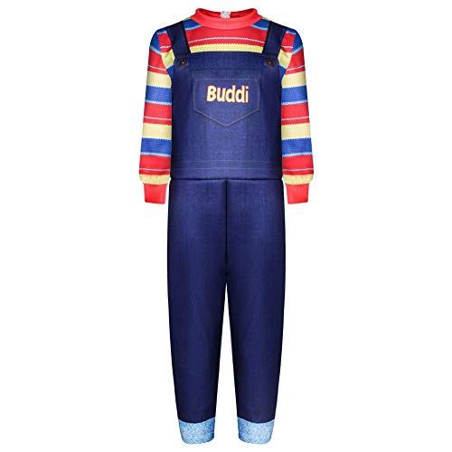 HIHIvia Disfraz de Chucky, Disfraz Halloween Terror para Niñas y Niños, Trajes de Mono Chucky Vestido de Carnaval para 2-16 Años