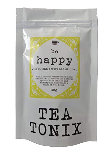 BE Happy Tea for Depression and Stress Relief with St. John's Wort, Vervain, and Skullcap 40g - to Restore The Nervous System, Ease Tension and Anxiety, and Promote a Sense of Well Being