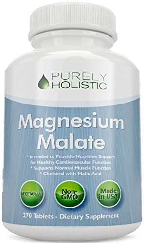 Magnesium Malate 400mg Tablets - 50% More 270 Vegetarian Tablets - Chelated Magnesium Supplement with Malic Acid - Promotes Energy Production and Muscle Recovery - High Absorption