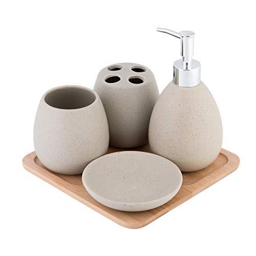 axentia Juego para bañ Avignon 126822. Equipamiento para baño, Accesorios de cerámica bambú, marrón, 23 x 30 x 11cm