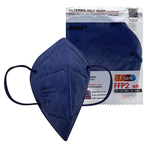 ASTORMEDIC Mascarillas FFP2 Jiada- Homologadas CE- para Adultos [20 unidades] Mascarilla de Protección con 5 capas. Alta eficiencia filtración bacteriana. Colores. Envase Individual (Azul Marino)