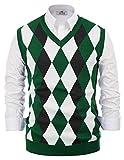 PJ PAUL JONES Mens Slim Fit Argyle/Plain V-Neck Sleeveless Pullover Sweater Vest Green XL