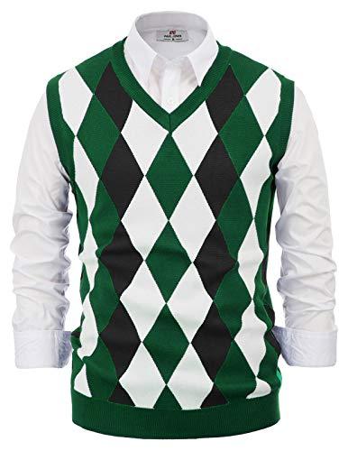 PJ PAUL JONES Mens Soft Argyle V-Neck Sleeveless Pullover Sweater Vest Green 2XL