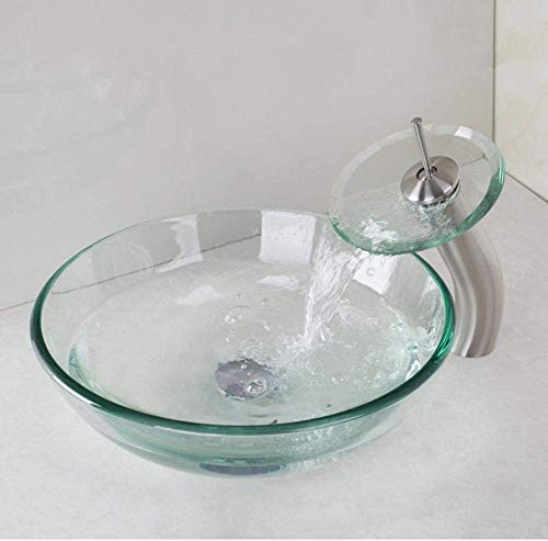 Set van gehard glas wastafel mixer met wastafel kom, B