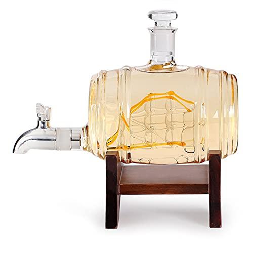 QIANJINGCQ Soporte de madera con grifo, botella de vidrio en forma de barril de vino extranjero, botella de whisky, botella de vino creativa para decoración del hogar