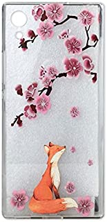 Sony Xperia XA1 Case, Crystal Clear Case with Design Pink Cherry Blossoms Pattern Print Bumper Protective Shock Absorption Case for Sony Xperia XA1 Dust Proof Silicone Floral Cover for Girls