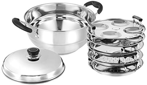Amazon Brand - Solimo Stainless Steel Induction Bottom Multi Kadhai with 5 plates(idli, Dhokla and pathra), Silver