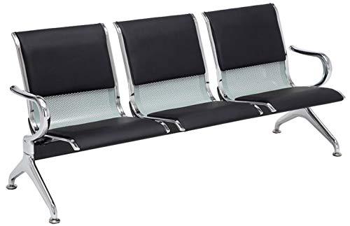 Banco de Espera Airport en Cuero Sintético | Banco Robusto con Base de Metal | Banco con Reposabrazos | Color:, Color:Negro/Plata, Tamaño:3 plazas