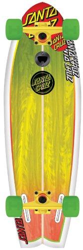 Santa Cruz Skateboard Longboard Landshark, white/rasta, 8.8