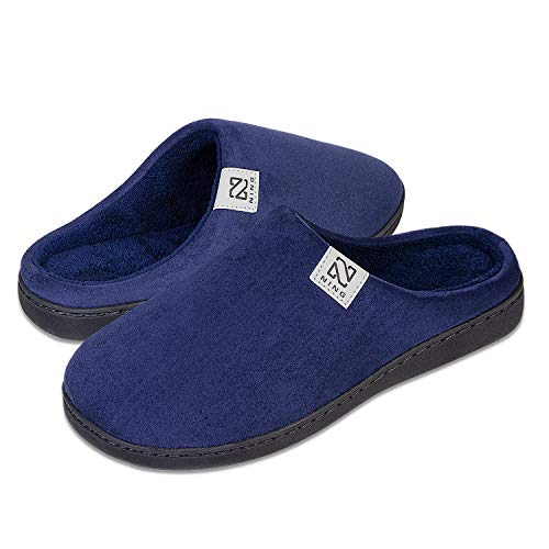 Memory Foam Slippers for Women Men with Fuzzy Coral Fleece Lining, Slip on Clog House Slippers Closed Toe Non-Slip House Shoes with Indoor Outdoor (Blue, 46/47)
