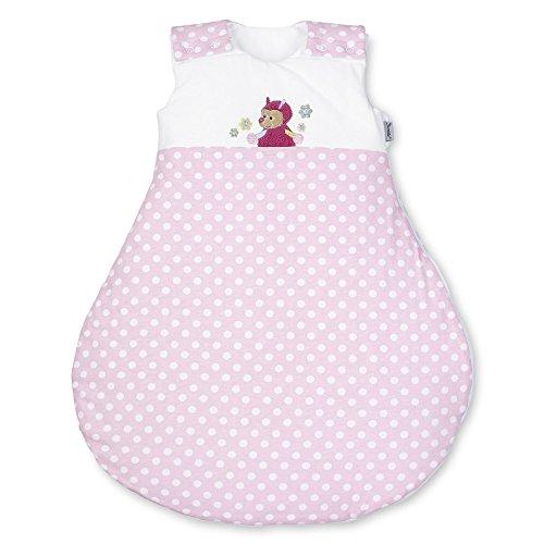 Sterntaler slaapzak voor baby's, ritssluiting en knoppen, maat: 50/56, Katharina, wit/roze