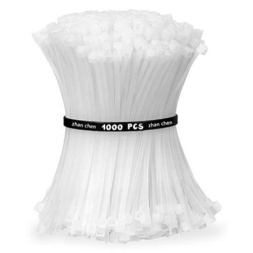 Kabelbinder Weiß Set UV Beständig 1000 Stück zur Bündelung von Draht und Netzwerkkabeln
