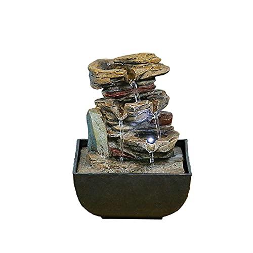 ZZLLFF Fuente de Mesa con DIRIGIÓ Luces - Falta de Roca de 3 Pasos Caída de la Cascada Interior - Agua calmada y Relajante Decoración del hogar (Color : 9203008, Size : 220V EU Plug)