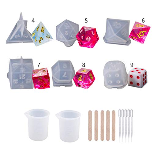 BUZHI Resin Dice Molds, 6 Shapes Polyhedral Game Dice Molds Set with Mixing Sticks, Measuring Cup, Droppers, for Epoxy Resin Dice Making,D4 D5 D6 D7 D8 D9