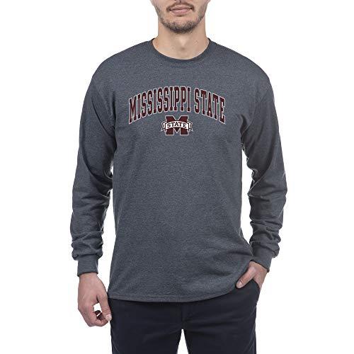 Elite Fan Shop Dark Heather Basic Langarm-Shirt College Arching, Herren, Long Sleeve Shirt Dark Charcoal Gray, Mississippi State Bulldogs Dark Heather, Medium