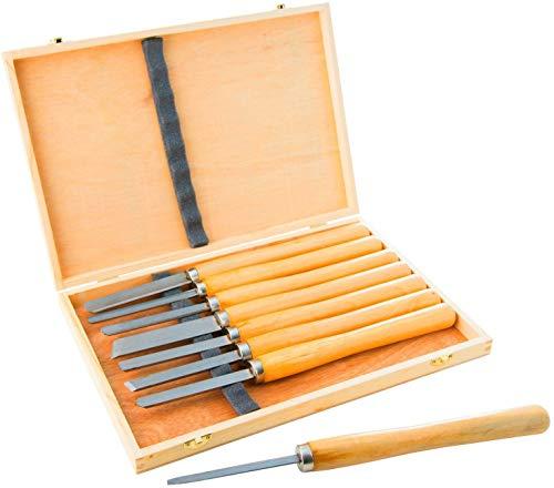 ybaymy 8 Stück HSS Drechselmesser Set Holzdrehmaschinen Meißel Set Drechseleisen Drehmeißel Set Qualitätsstahl Holz Drehwerkzeug, für Holzschnitzereien, Wurzelschnitzmöbel