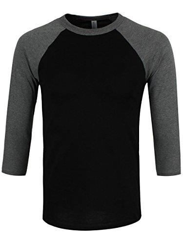 Bella & Canvas Baseball Herren T-Shirt mit 3/4 ärmeln schwarz