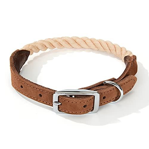 Collar de Cuero Genuino de Cuerda de algodón de Primera Calidad Perro
