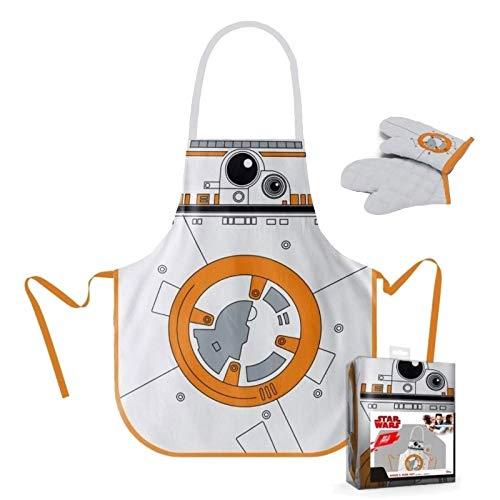 SD toys Delantal y Manopla Pack Transparente Star Wars, Algodón-Poliéster, Blanco/Naranja, 3x3x3 cm