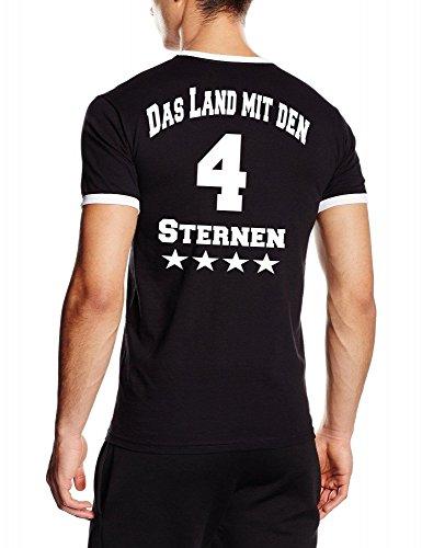 Coole-Fun-T-Shirts 4. Stern ! Das Land mit den 4 Sternen ! WM 2014 Fußball Deutschland Adler vorne 4 Sterne hinten Ringer T-Shirt schwarz XL