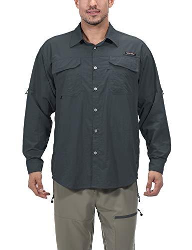 Little Donkey Andy Camisa de manga larga para hombre, protección UV, protección UPF 50+, muy transpirable y de secado rápido, gris XL