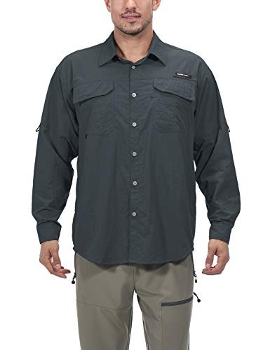 Little Donkey Andy Men's UPF 50+ UV Protection Shirt, Long Sleeve Fishing Shirt, Highly Breathable and Fast Dry Gray S