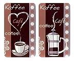 Wenko 2521492500 Coprifornelli in vetroceramica con Stampa caffè – Set 2 Pezzi, per Tutti i Tipi di Piani di Cottura, Vetro, Multicolore