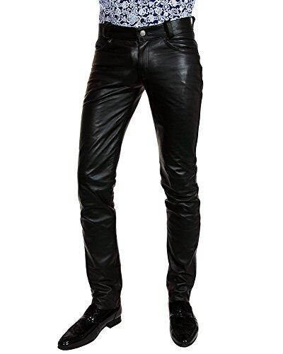 Bockle® HIM lagere mannen leren broek broek broek strak zeer lage taille