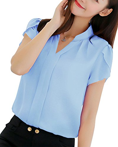 Mujeres Camisa Manga Corta Color Sólido Blusa Ocasional Oficina Camiseta Celeste M