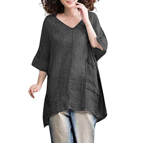 COZOCO Camisa Casual De Mujer Escote De Pico Lino Camisa De Color Sólido Boho Cómodo Bolsillo Superior Suelto