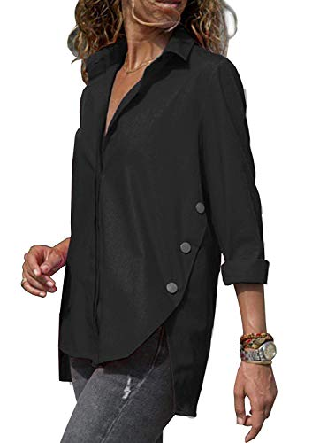 Minetom Chemisier Femme Manches Longues T-Shirt Mode Oversized Tunique Col V Bouton Tops Blouse Chic Printemps Automne Casual Hauts Noir FR 42