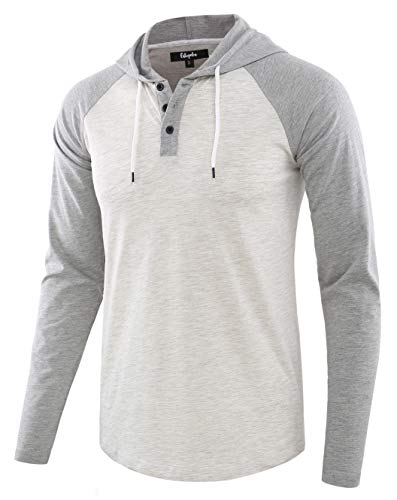 Estepoba Mens Casual Athletic Fit Lightweight Active Sports Jersey shirt Hoodie Heather Oatmeal/Heather Gray M