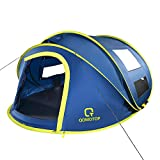 """OT QOMOTOP 10 Seconds Set-up 4 Person Pop up Tent, 9.5'×7' with 50"""" Central High Camping Instant Tent, 4 Ventilated Mesh Windows and 2 Doors, Wateproof Tent, Easy Carry and Storage"""