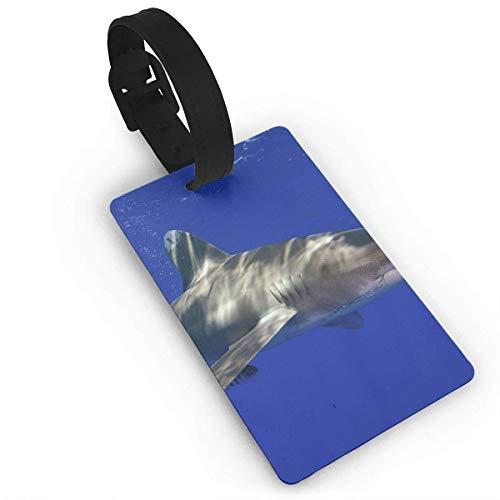 WERERT Luggage Tag Giant Shark Business ID Card Holder with Adjustable Strap for Travel BaggageTags Baggage Bag/Suitcases Business Card Holder Name ID Labels 3.7X2.2in
