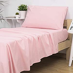 crib bedding and baby bedding tillyou 3-piece softer microfiber toddler sheet set for girls (lt pink, fitted sheet, top flat sheet and envelope pillowcase) - silky crib sheets set toddler bed set - baby bedding sheet & pillowcase