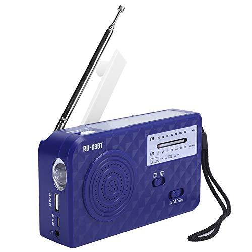 Vipxyc Radio Radio Solar Función de Radio FM/Am Radio de manivela ABS Altavoz Incorporado, 1 luz LED, para emergencias y desastres.(Azul)