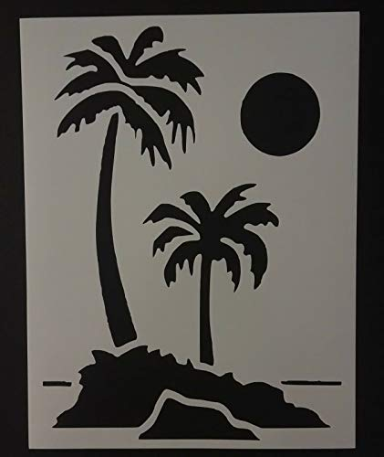 Reusable Sturdy Stencil Palm Trees Tree Beach Sun Moon 8.5' x 11' Stencil Logo Cut Stencil Sheet (not Paper) Arts and Crafts Material Scrapbooking for Airbrush Painting Drawing