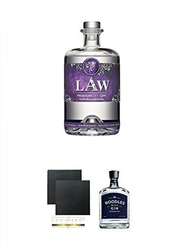 LAW Gin Ibiza 0,7 Liter + Schiefer Glasuntersetzer eckig ca. 9,5 cm Ø 2 Stück + Boodles London Dry Gin Deutschland 0,7 Liter