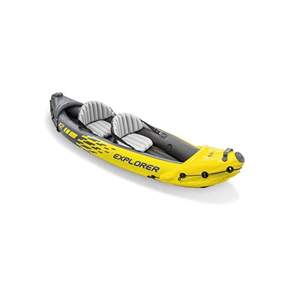 Intex explorer k2 kayak, 2-person inflatable kayak set with aluminum oars and high output air pump 2 comfortable for anyone: kayak includes an adjustable inflatable seat with backrest; cockpit designed for comfort and space dimensions: inflated size 10 feet 3 x 3 feet x 1 feet 8 inch; maximum weight capacity: 400 pounds directional stability: removable skeg for directional stability