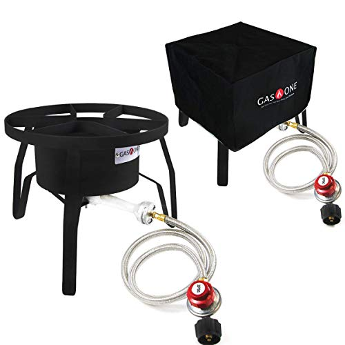 GasOne B-5300+50480 Burner with Cover High-Pressure Outdoor Propane Stove