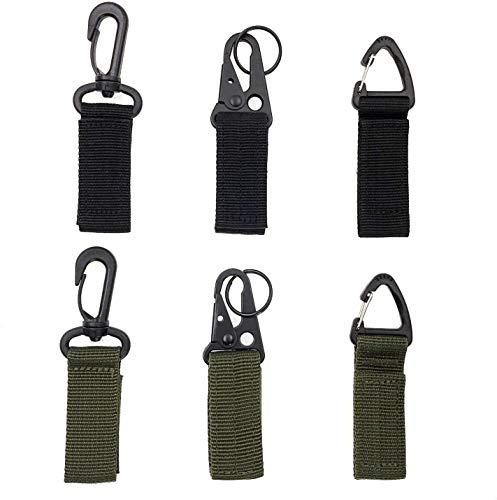 JZK 6 x Taktische Rucksack Clip Haken, Taktische Weste Gürtel Karabinerhaken, Gurtband aus Nylon mit Haken für Arbeitsgurt