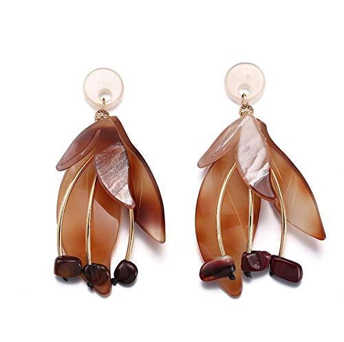TTYJWDWY-Pendientes de acrílico de Hoja Multicolor Joyería de Moda para Mujer Pendientes de Personalidad marrón