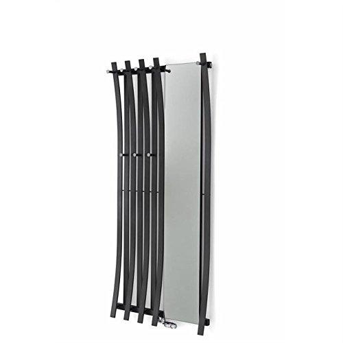 Passo appendiabiti con specchio, di alta qualità, design Termosifone, disponibile in diverse dimensioni e colori, una o due ganci fila a scelta
