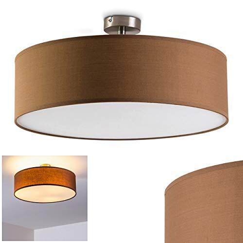 Deckenleuchte Foggia, runde Deckenlampe mit Lampenschirm aus Stoff in Braun/Weiß, Ø 50 cm, LED-fähig, 3 x E27-Fassung, 40 Watt, Retro-Design