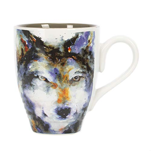 DEMDACO Dean Crouser Wolf Watercolor Gray On White 16 Ounce Glossy Stoneware Mug With Handle