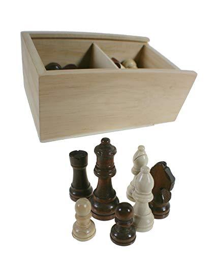 CAL FUSTER - Figuras ajedrez de Madera barnizada 2 Colores en Caja de Madera. Medidas: 8x18x12 cm.