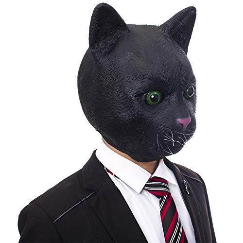 Molezu 動物マスク 黑猫マスク 可愛い 黒猫の面 コスプレ小物 変装 仮面 撮影用お面 パーティー仮装 宴会 学園祭 文化祭用 ラテックスマスク