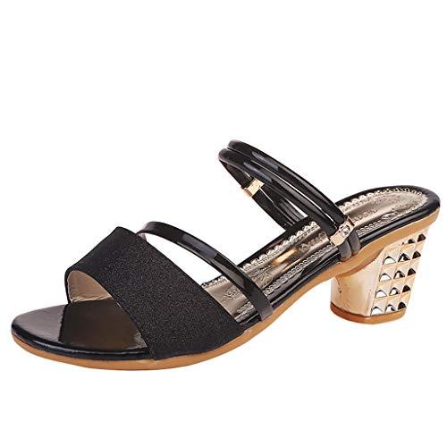 LSAltd Damen Summer Square Schuhe mit hohen Absätzen, Sandalen mit offenen Zehen Flip Flops Helle Farben Slipper Frauen Leichtgewichts Sport Freizeit Outdoor Walking Wander Turnschuhe