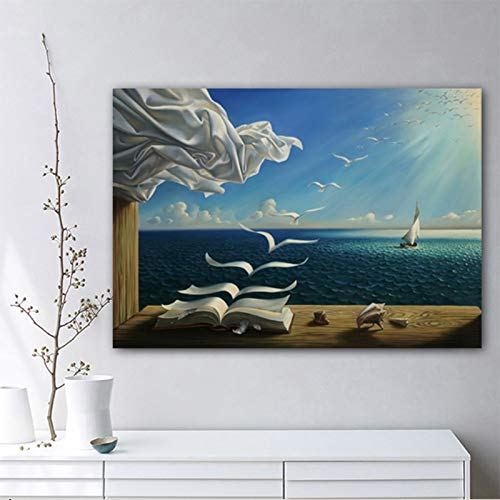 Leinwand Malerei Salvador Dali Kunstdruck Poster Das Wellenbuch Segelboot Bild Ölgemälde Tagebuch Der Entdeckung Home Decor No Frame Paintings 50 * 70cm